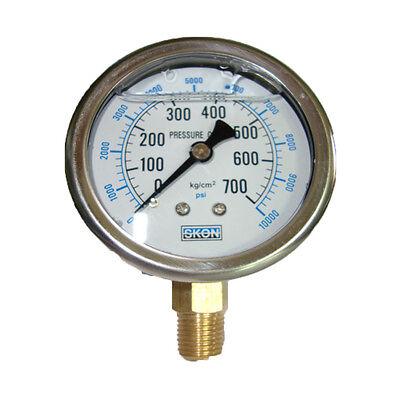 60mm Hydraulic Pressureseismic Oil Filled Pressure Gauge Meter700kg 10000psi Vg