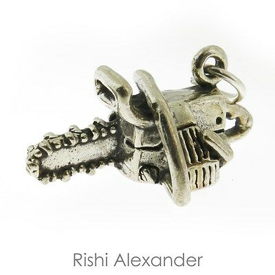 925 Sterling Silver Chain Saw Charm Made in USA