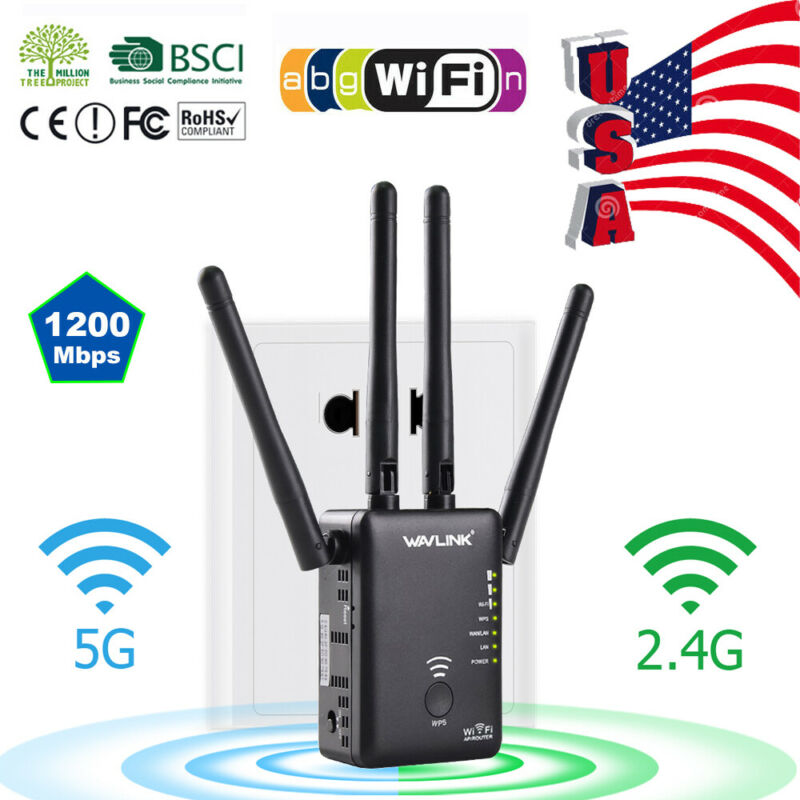 AC1200 WiFi Repeater Wireless Extender Booster Router Dual Band Gigabit RJ-45 US