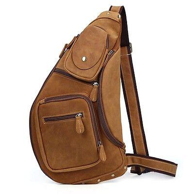 Men's Vintage Genuine Leather Shoulder Bag Sling Bag Chest Brown Backpacks Large