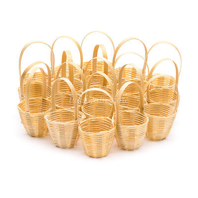 Dollhouse Miniatures Handcrafted Bamboo Round Weaving Wicker Picnic Basket - Picnic Baskets Wholesale