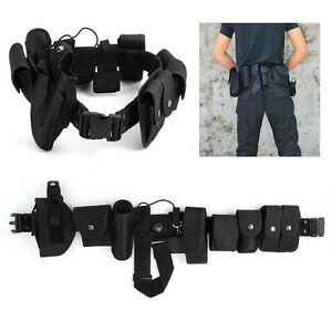Police Guard Tactical Belt Buckles Black With 9 Pouches Utility Security System