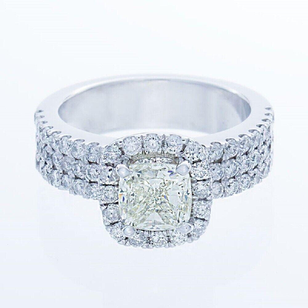 GIA Certified Diamond Engagement Ring 14k White Gold 2.12 CTW Natural Cushion