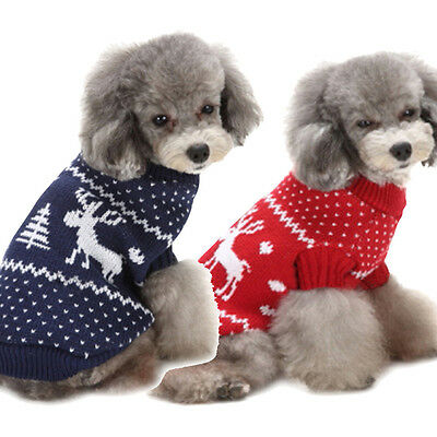 New Fashion Xmas Elk Pet Dog Puppy High Collar Warm Clothes Outwear Sweater Gift
