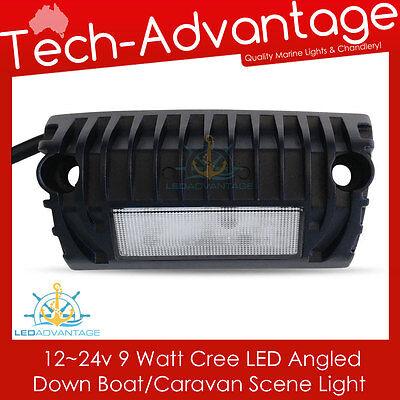 12V/24V BLACK 9W ANGLED SURFACE LED SCENE AWNING SECURITY LIGHT BOAT/CARAVAN