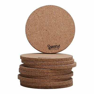 Cork Coasters for Drinks - Set of 10 - 4 Inches, Round - by Sweese