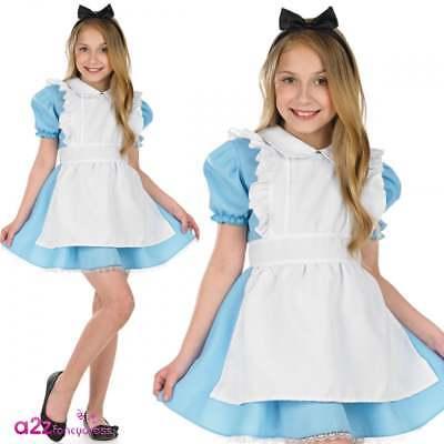 Girls Traditional Alice Costume Fairytale World Book Day Wonderland Fancy Dress  - Traditional Alice In Wonderland Costume