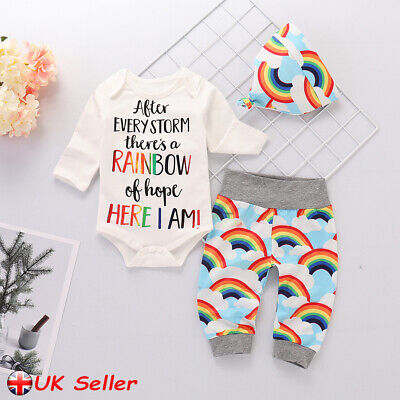 Rainbow Newborn Baby Clothes Girl Boy Romper Tops Jumpsuit Pants Hat Outfits Set