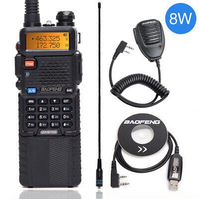 Baofeng UV-5R 8W Tri-power 8W/4W/1W 3800mAh Battery Portable Two Way Radio Set