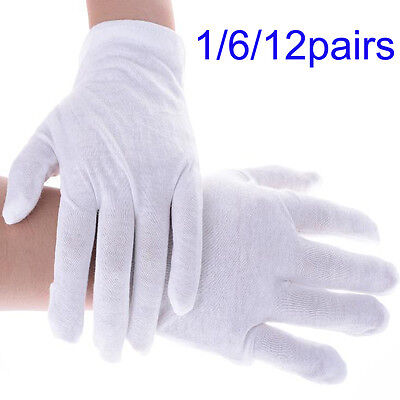 1612pairs White Inspection Cotton Lisle Work Gloves Coin Jewelry Lightweight P