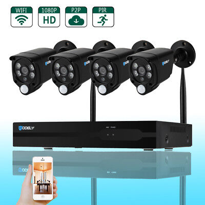 8CH 1080P NVR Outdoor PIR IR-CUT WIFI Camera Home Security System Remote View