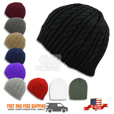 Beanie Winter Warm Cable Knit Crochet Hat Unisex Cap Braided Big Cuffless (Knitted Cuffless Cable Beanie)