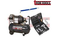 Sealey SAC503VE Compressor 50ltr Direct Drive 3hp + SA2004KIT Air Tool Kit + 15m Hose