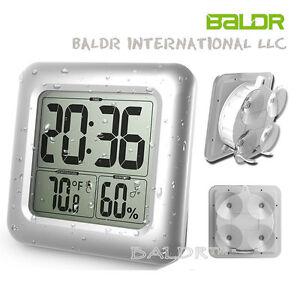 image is loading numerique baldr etanche douche salle de bain horloge - Horloge Digitale Murale Salle De Bain
