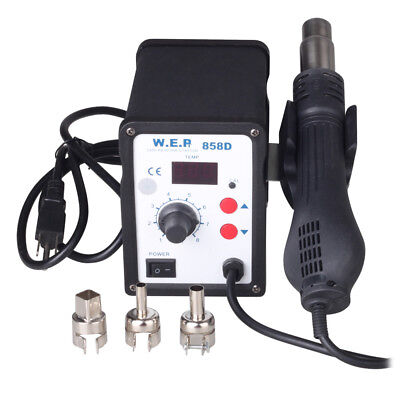 110v 858d Soldering Rework Station Hot Air Gun Solder Iron Welder Esd 3 Nozzles