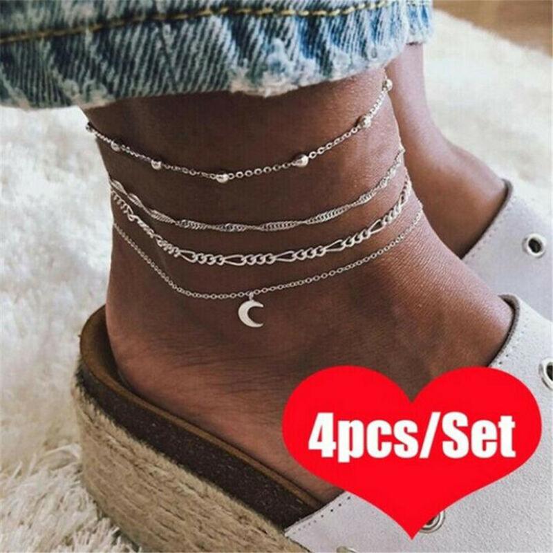4pcs Silver Ankle Bracelet Women Anklet Adjustable Chain Foo