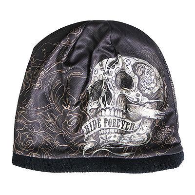 Rose Beanie Hat - RIDE FOREVER Beanie Knit Cap Motorcycle Biker Hat Skull Roses Ski Snowboard NEW