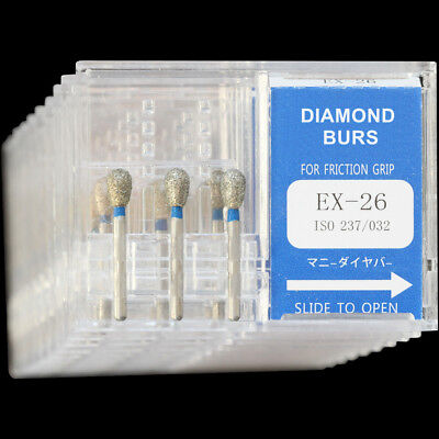10 Boxes Ex-26 Mani Dia-burs Fg 1.6mm Dental High Speed Handpiece Diamond Bur