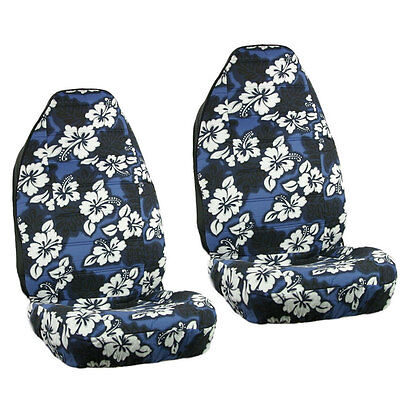New Blue Hawaiian Flowers Hibiscus Floral Print Car Front Bucket Seat Covers Seat Covers Hawaiian Cover