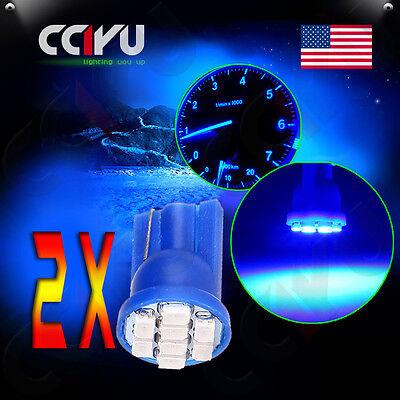 2 x T10 Wedge License Plate Frame Tag Blue 8 SMD LED Light Bulb 168 194 2825