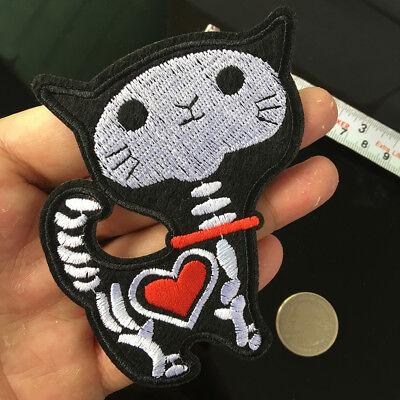 Love Heart Skeleton Skull X-ray Cat Funny DIY Applique Embroidered Sewing Fabric (Heart X-ray)