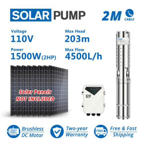 """4"""" DC Deep Bore Well Solar Water Pump 110V 2HP Submersible MPPT Controller Kit"""