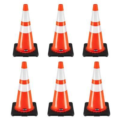 28 Orange Safety Traffic Pvc Cones With Two Reflective Tape Black Base
