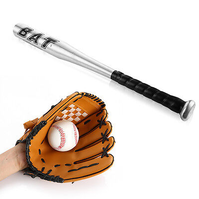 24'' Bass Ball Bat Full Set Bassball Glove Child Kids Beginner Softball Outdoor