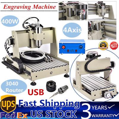 Usb 4 Axis 3040 Cnc Router Engraver Engraving Machine Wood Cutting 400w Desktop