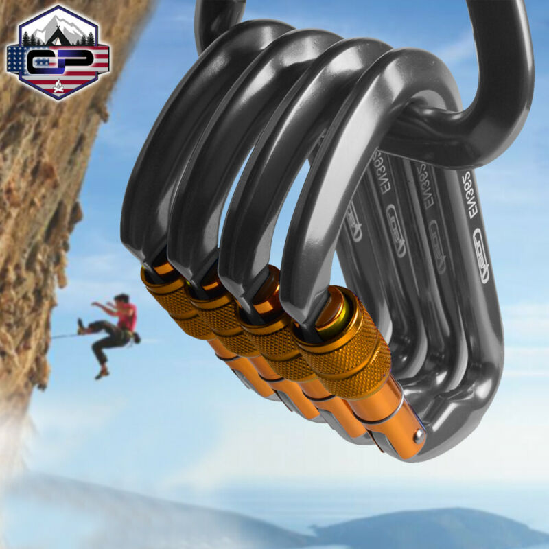 30KN Aluminum Locking Climbing Carabiner Outdoor Rock Rescue D-Shape Screw Hook