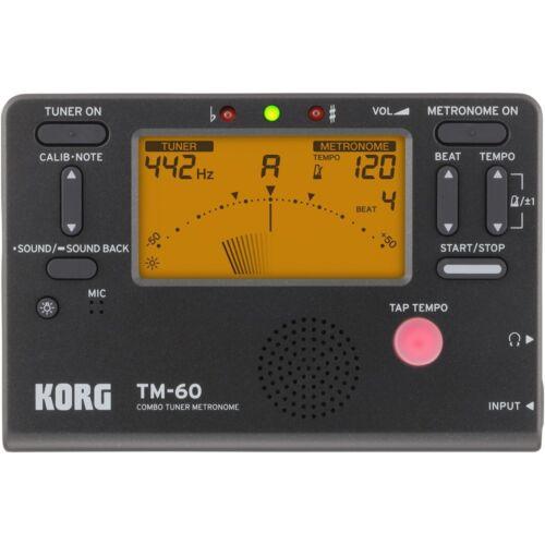 Korg TM-60 Combo Guitar String Bass Wind Instrument LCD Tuner Metronome - Black