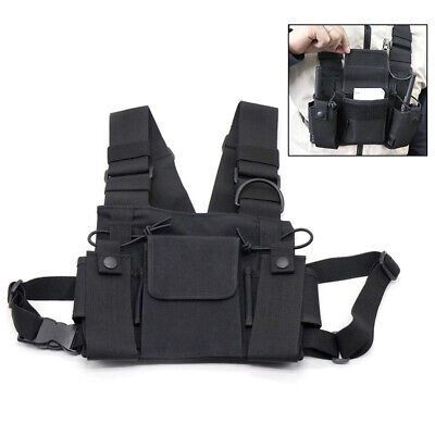 3 Pocket Hands Free Chest Harness Holster Walkie Talkie Radio Holder Vest Black