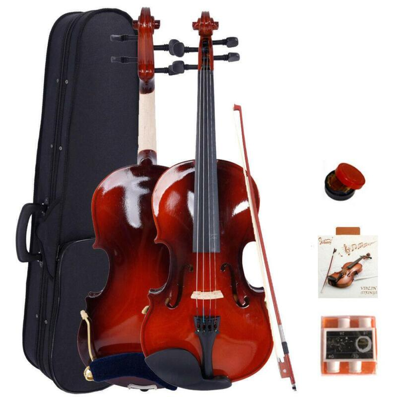 Glarry Maple Wood Natural 3/4 Size Acoustic Violin + Fiddle Accessories