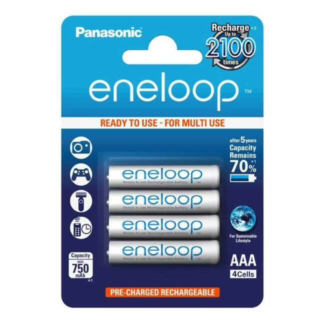4 x NEW Panasonic ENELOOP 750mAh AAA LR03 MN2400 Rechargeable AAA NiMh Batteries