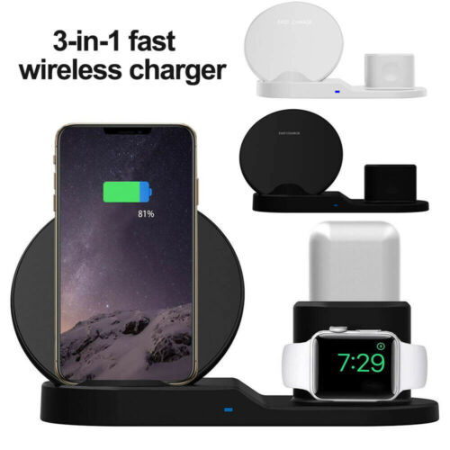 3in1 Qi Wireless Charger Fast Charging Dock Stand For Airpod