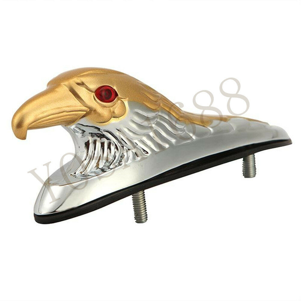 Chrome Gold Front Fender Bonnet Eagle Head with Red Eyes