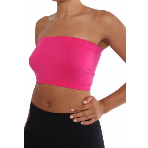 Women Tube Top Bra Seamless Bandeau Strapless Bralette Stretch Solid Crop Top 9