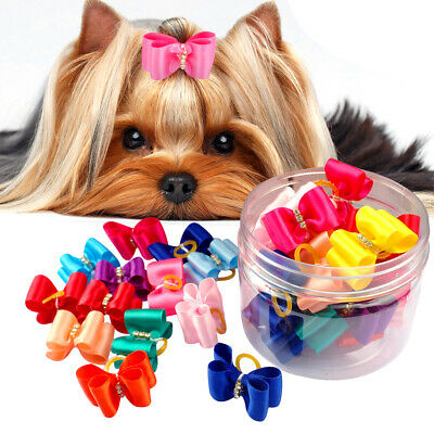 50/100pcs Wholesale Bling Rhinestone Cat Dog Hair Bows Dog Grooming Decoration