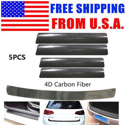 5PCS 4D Carbon Fiber Vinyl Car Door Sill  Rear Bumper Trunk Lip Protector Trim