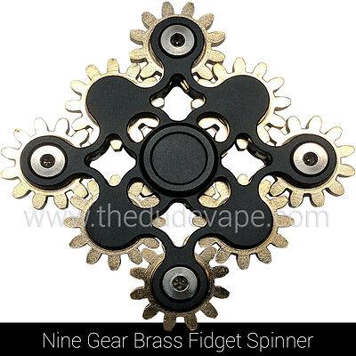 Fidget Spinner Toy | 9 Nine Gear Brass Hand Spinner | Torqbar EDC ADHD |  Black