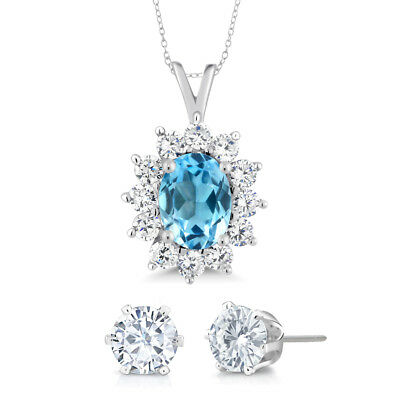 December Birthstone Oval Swiss Blue Topaz 925 Sterling Silver Pendant with Gift