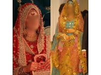 2 DRESSES FOR 1!!! ASIAN INDIAN PAKISTANI RED BRIDAL WEDDING LENGHA WALEEMA WALIMA & ACCESSORIES!