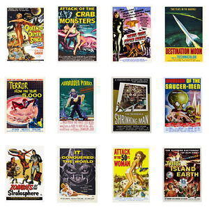 Science fiction movie posters atomic robots space age retro scifi