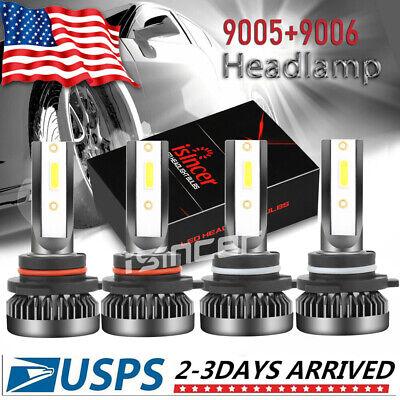 9005+9006 Combo LED Headlight Kits 120W High/Low Beam Bulbs 6000K White