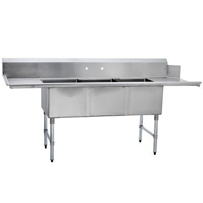 3 Three Compartment Commercial Stainless Steel Soiled Dish Table 30 X 102