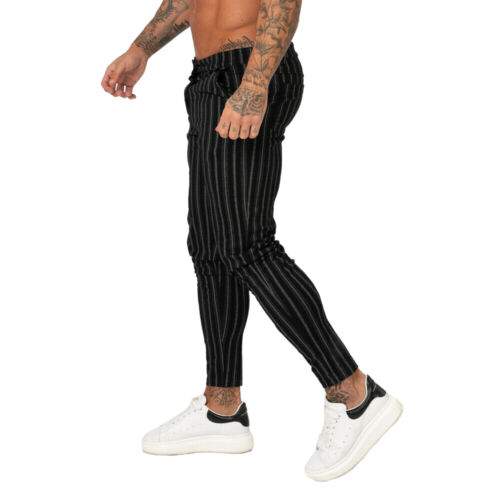 Gingtto Mens Chinos Black Vertical Striped Trousers Slim Fit Stretch Skinny Pant