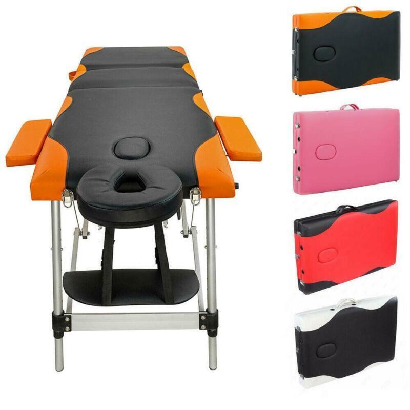 "84"" Massage Table 3 Fold Health Beauty SPA Bed Aluminum Facial Tattoo 7 Colors"