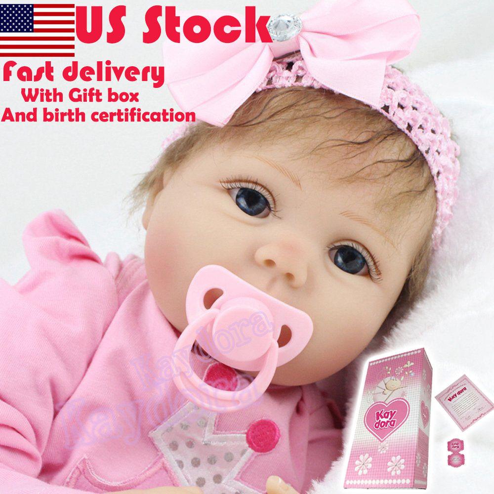 "Realistic Toddler Reborn Baby Doll Newborn 22"" Vinyl Silicone Girl Doll Handmade"