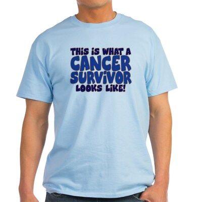 CafePress CANCER SURVIVOR (BLUE) Light T Shirt 100% Cotton T-Shirt (Cancer Light T-shirt)