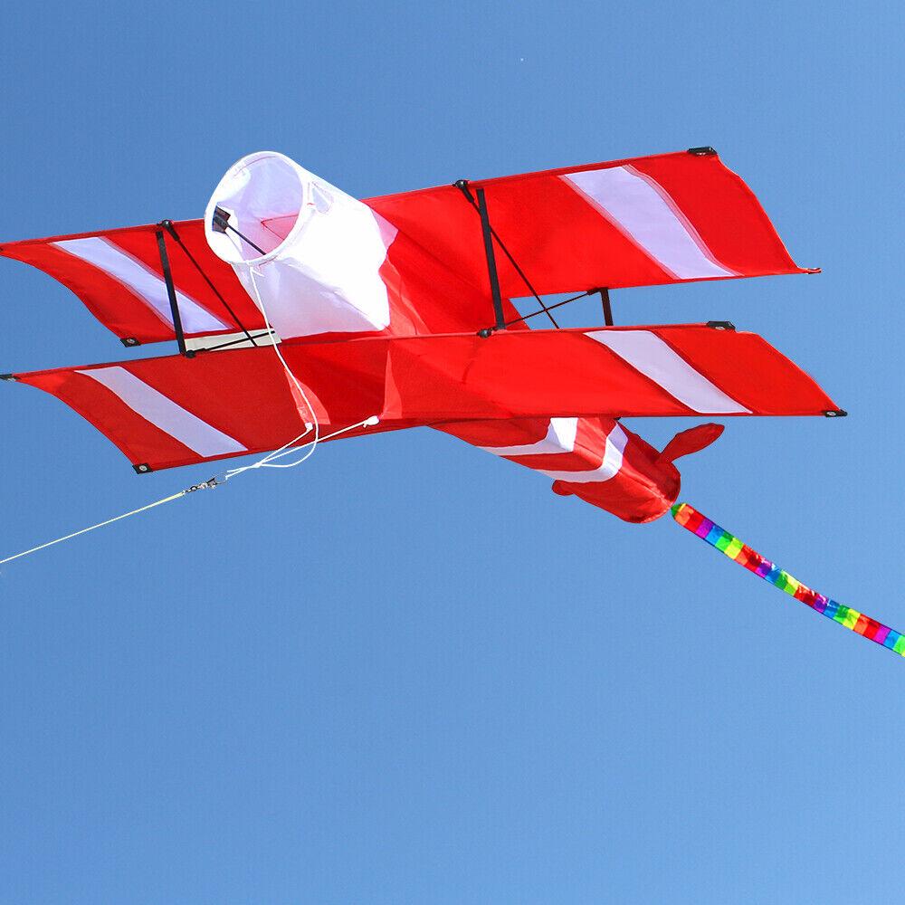 3D Single Line Red White Kites Outdoor Fun Sports Beach kite